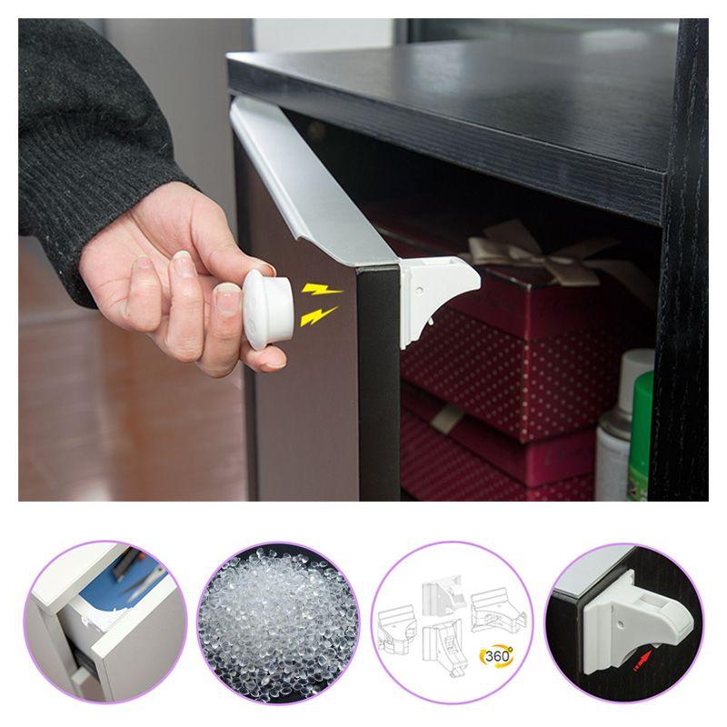 8 Candados + 2 llaves magnéticas bebé niño armario Seguridad Candados a prueba magnética cajón Candados, sistema de bloqueo magnético