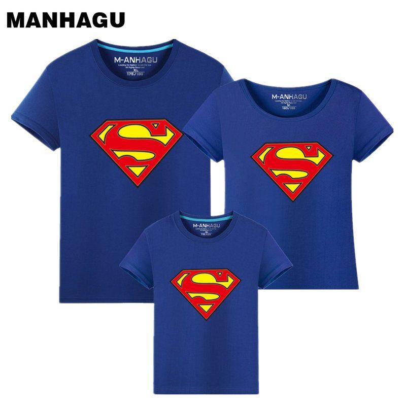MAHAGU marque 1 pièces famille correspondant vêtements Parent enfant Look Superman T-Shirts été printemps père mère enfants Cartoon tenues