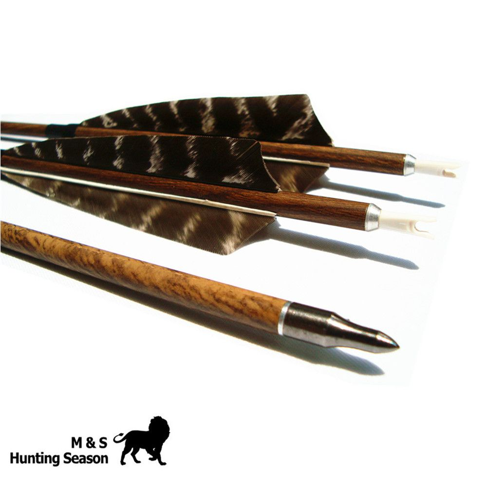 Archery Wood Grained Carbon Arrows Removable Broadheads Spine 400/500/600 4 Inch Feather For Hunting Bow 29/30/31Inch 6PK