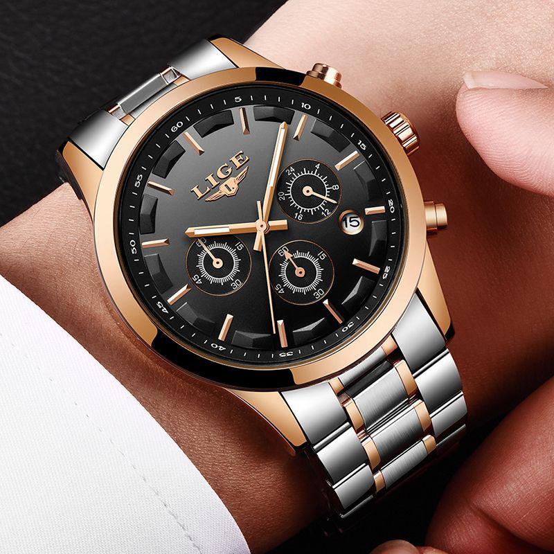LIGE Men Watch Luxury Brand Fashion Casual Quartz Watches Men Full Steel sport dress Wristwatch Military Clock Relogio Masculino