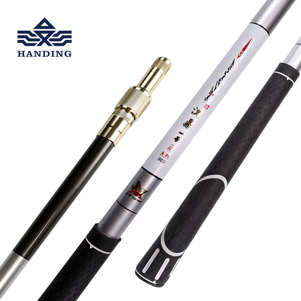 Handing Fishing Pole 1.1m-3m <font><b>ultralight</b></font> Retractable Telescoping Landing hand Net carbon Pole Foldable Fishing net Pole
