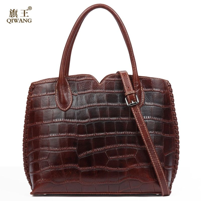 Qiwang Brown Women Bag 100% Genuine Leather Women Crocodile Shell Handbag Vintage Luxury Tote Women Bag Brand Bag