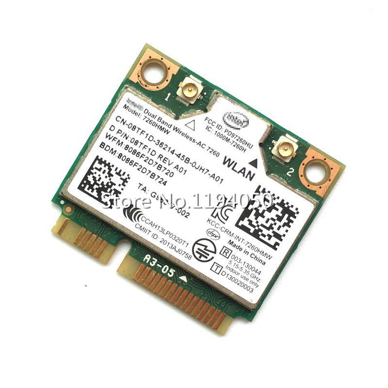 D'origine Sans Fil carte Double bande Sans Fil AC 7260 7260 HMWAN 867 Mbps Demi Mini PCI-E 802.11ac 2x2 Wifi Bluetooth4.0 Carte