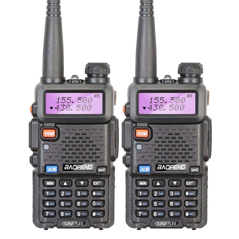 2 Pieces/lot Brand New Baofeng UV-5R Interphone VHF 136-174 MHz & UHF 400-520 MHz UV5R Dual Band Dual Display Walkie Talkie