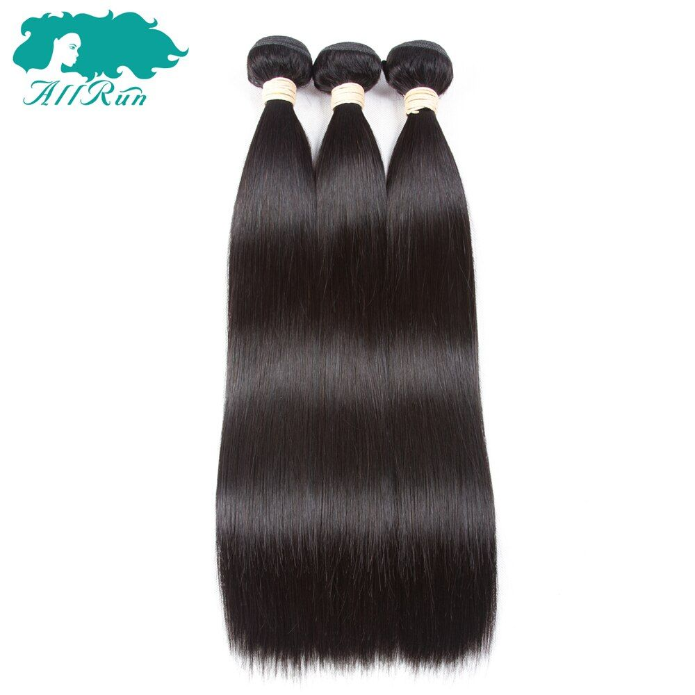 Allrun Brazilian Hair Weave Bundles 3 Pieces/Lot Double Weft Straight Human Hair Extensions 8