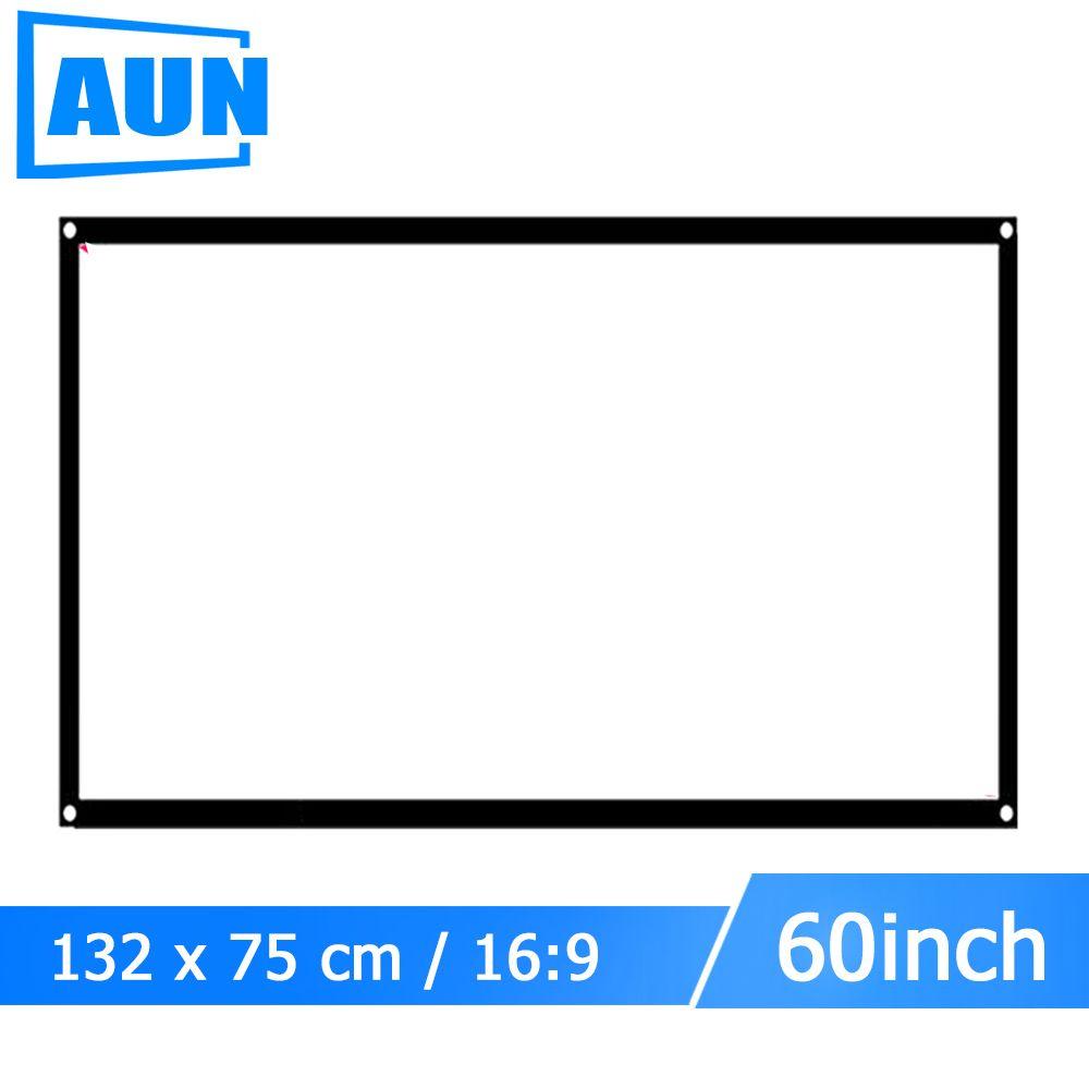 Аун 60 дюймов 16:9 Портативный проектор Экран Пластик Экран для домашнего кинотеатра путешествия поддержка светодиодный проектор DLP proyector S60