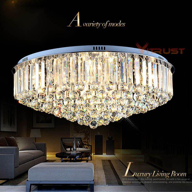 Luxury Crystal Chandeliers Ceiling Lamp Lighting Lustre Simple Atmospheric Sitting Room Crystal Ceiling Light Fixture