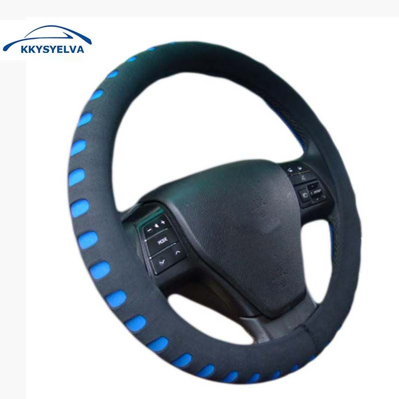KKYSYELVA EVA Punching Red car steering wheel cover 38CM Universal Auto Steering-Wheel covers Car Interior Accessories