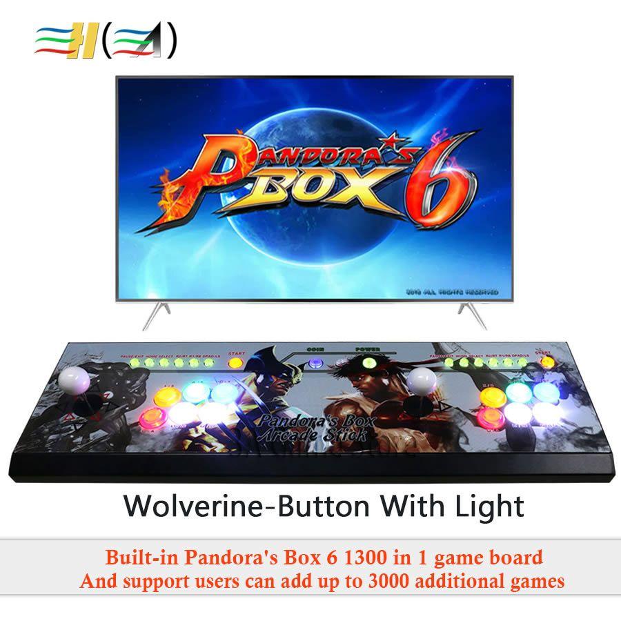 Der Pandora box 6 1300 in 1 spiel arcade konsole usb joystick arcade tasten mit licht 2 spieler control maschine pandora box 6 HD