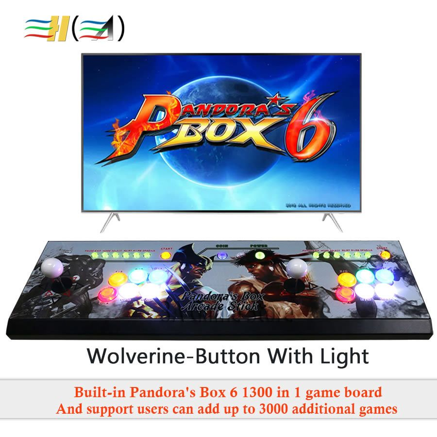 Pandora's box 6 1300 in 1 game arcade console usb joystick arcade buttons with light 2 players control machine pandora box 6 HD