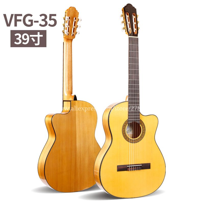 Professional Handmade Cutaway 39 inch Electric Acoustic Flamenco guitar With Spruce/Aguadze Body,Classical guitar with pickup