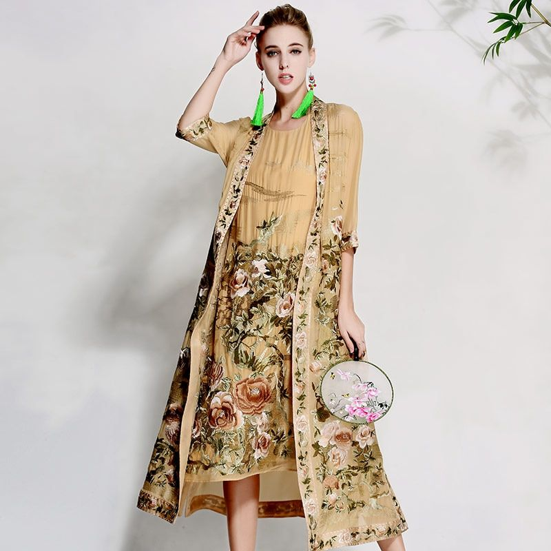 High-end floral spring summer women trench coat dress ladies embroidery suit elegant loose lady silk Sunscreen coat set M-XXXL