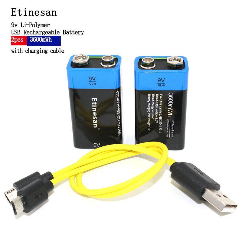 2 pièces Etinesan 9 V 3600mWh batterie rechargeable lithium li-po li-ion + câble micro usb pour le chargement