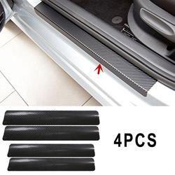 Vehemo 4 Unid negro puerta del coche pegatinas de fibra de carbono Look Car Sticker Scuff cubierta Anti Scratch Decal Universal para todo el coche