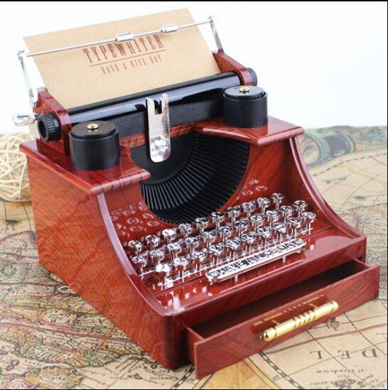 Rétro ancien Style machine à écrire boîte à musique créative rétro brun boîte à musique avec un tiroir décoration de la maison artisanat 14.5x13.5x11 cm