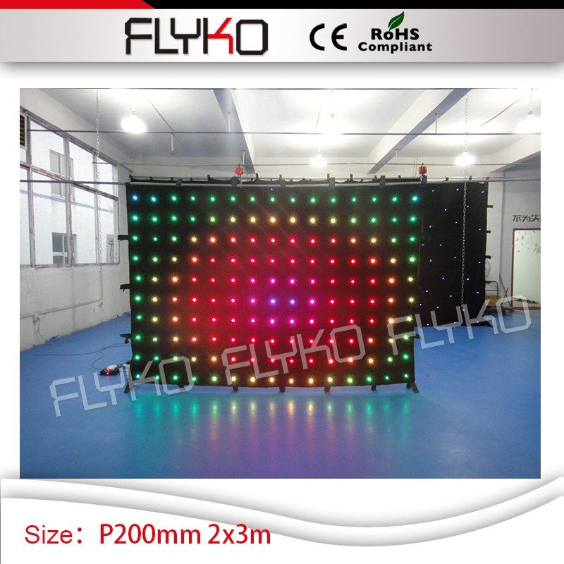 China supplie P200mm 2m by 3m led animation curtain programmable display led video curtain