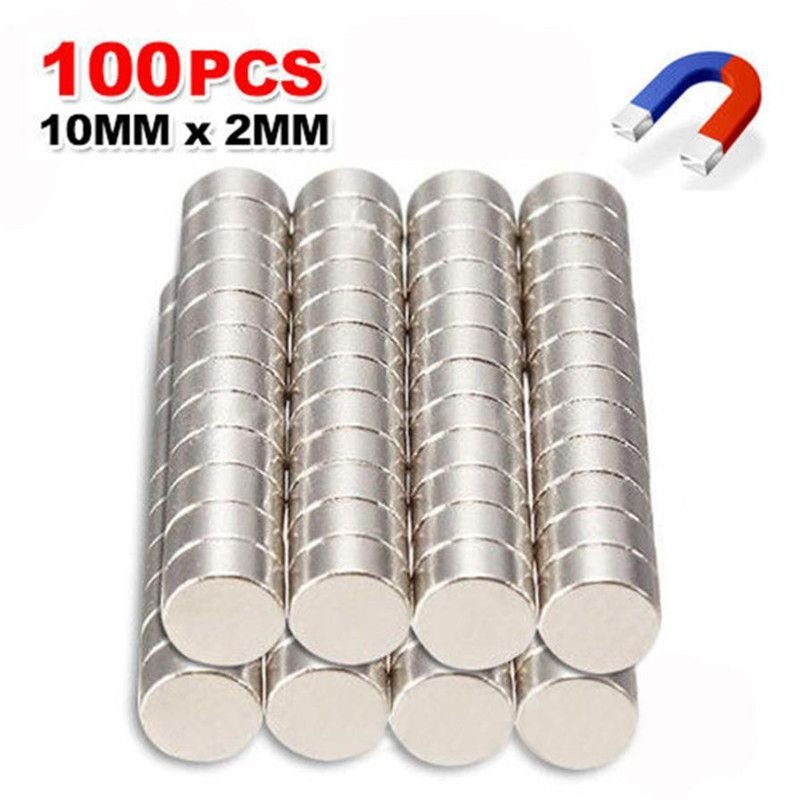 100pcs N35 Super Strong 10mm x 2mm Round Disc Magnets Rare Earth Neodymium Magnet Fridge sticker Note sticking Kit drop ship