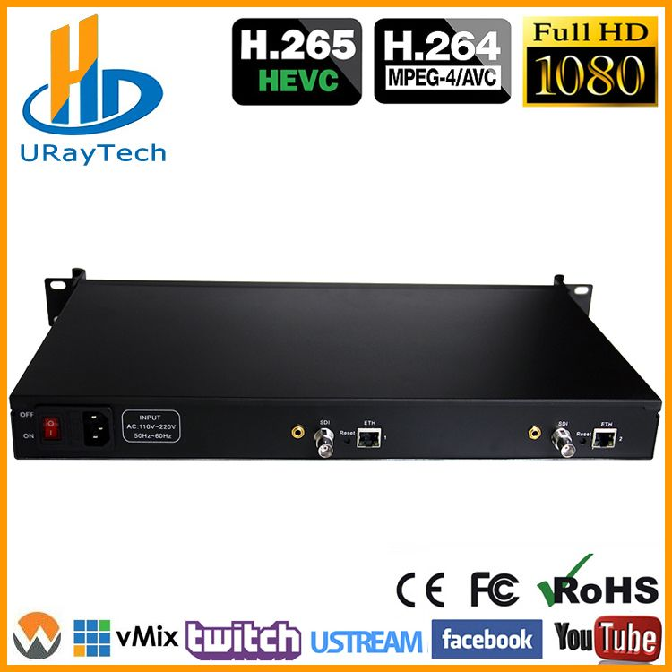 1U Rack HEVC H.265 SD HD 3G SDI Zu IP HD Video Encoder IPTV Encoder 2 Kanäle Live-Streaming RTMP Encoder SDI Zu H.264 H.265