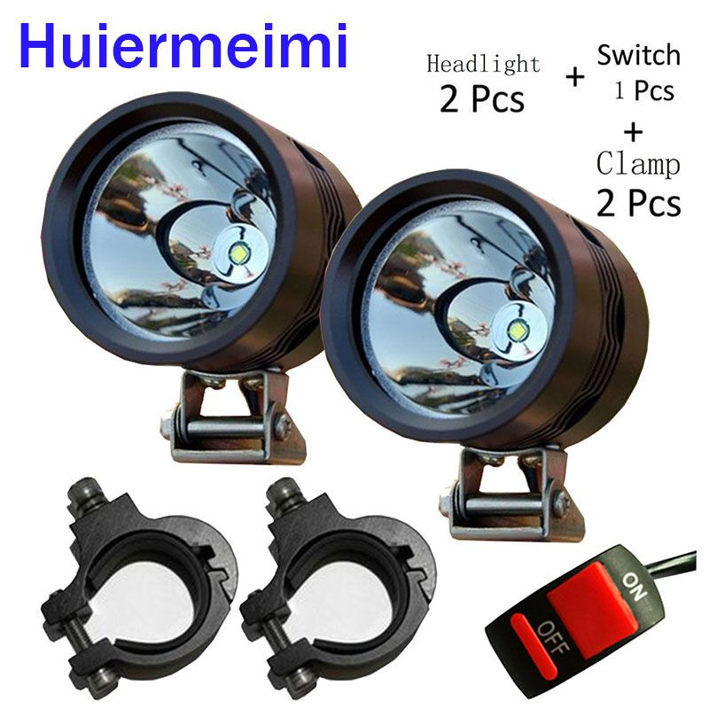 Huiermeimi 2pcs 40W 12V Motorcycle Headlight U2 led Driving Car fog light moto head lamp Offroad truck Motorbike Spotlight DRL