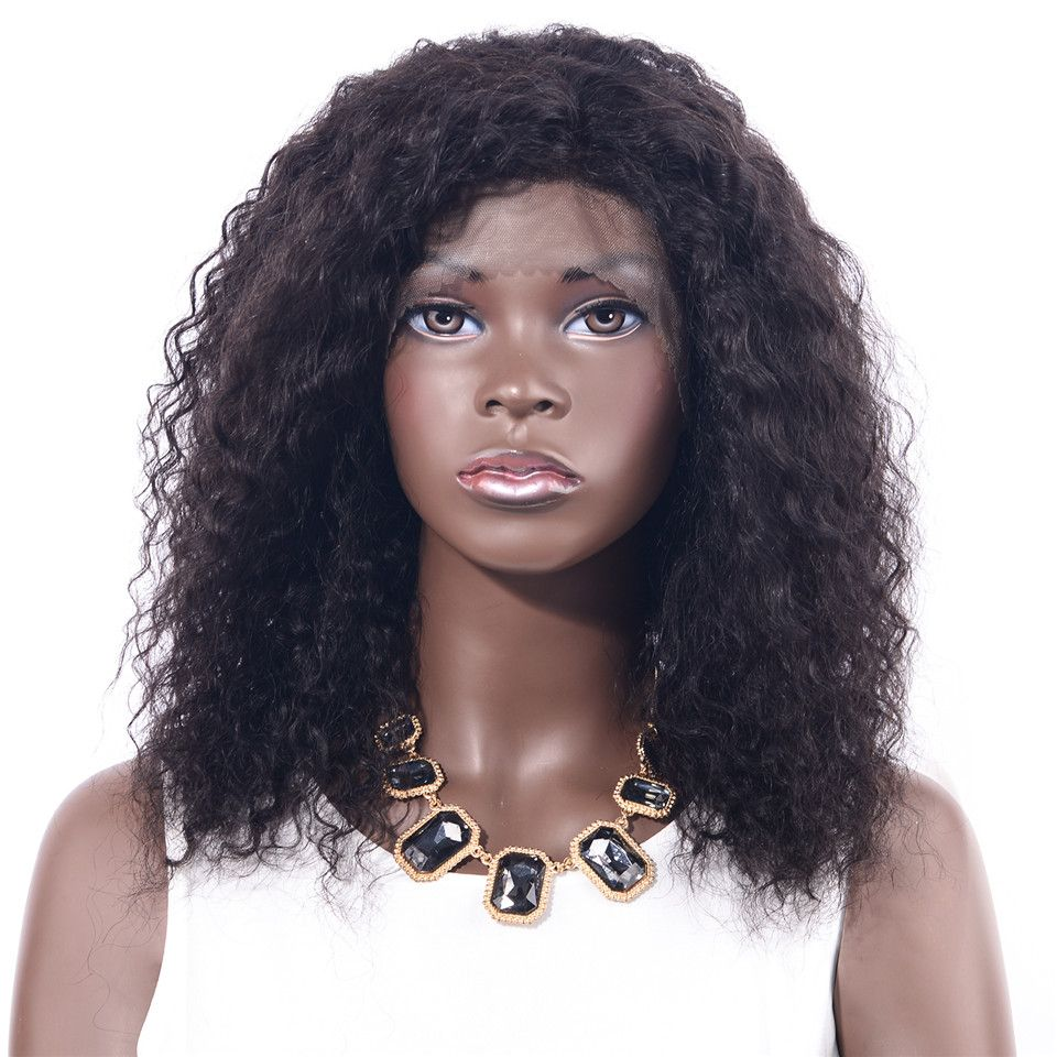 CHOCOLATE Remy Lace Front Human Hair Wigs Afro Kinkys Curly Wigs for Women Pre-Plucked Hairline perruque cheveux humain 16inches