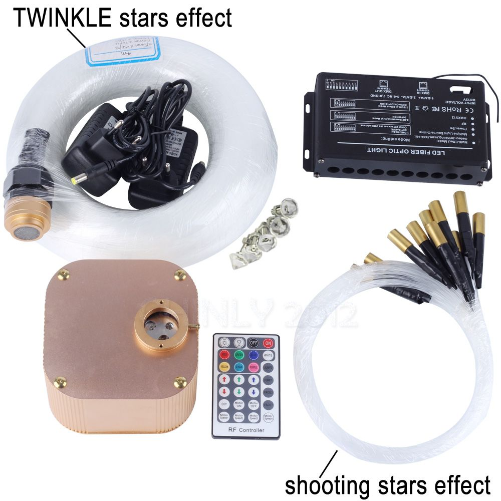 16W RGBW RF Remote TWINKLE LED Fiber Optic Light Kit for Ceiling Starry Effect 335pcs Fiber Cable with Shooting Meteor Machine