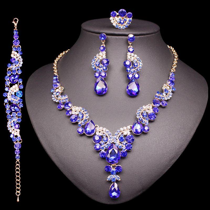 Mode indien mariée boucles d'oreilles collier ensemble de luxe cristal bijoux ensembles de fête de mariage femmes Costume bijoux cadeaux pour maman