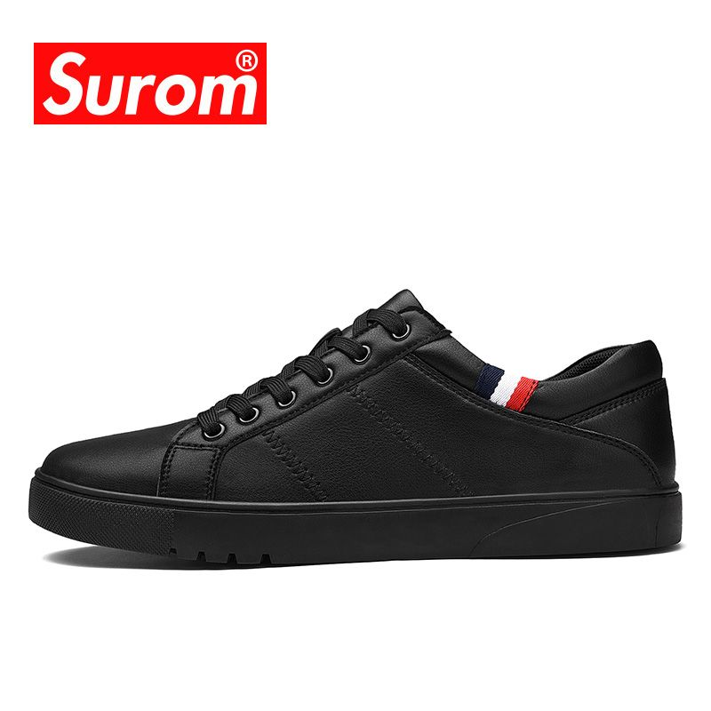 SUROM Classics Skateboarding Shoes Men Luxury Brand Sneakers Soft Breathable Lace Up Black White Sport Shoes For Men 2018 New