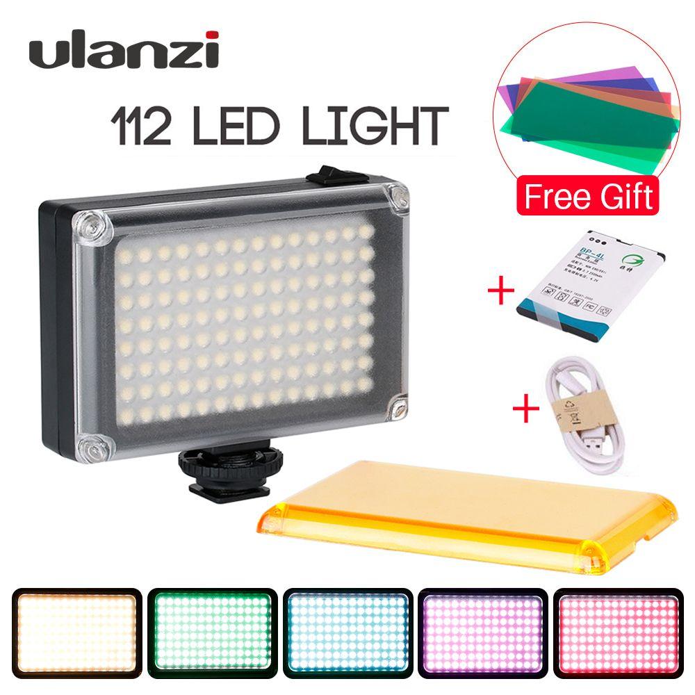 Ulanzi New 112 LED Dimmable Video Light Lamp Rechargable Panel Light BP-4L Battery for DSLR Camera Videolight Wedding Recording