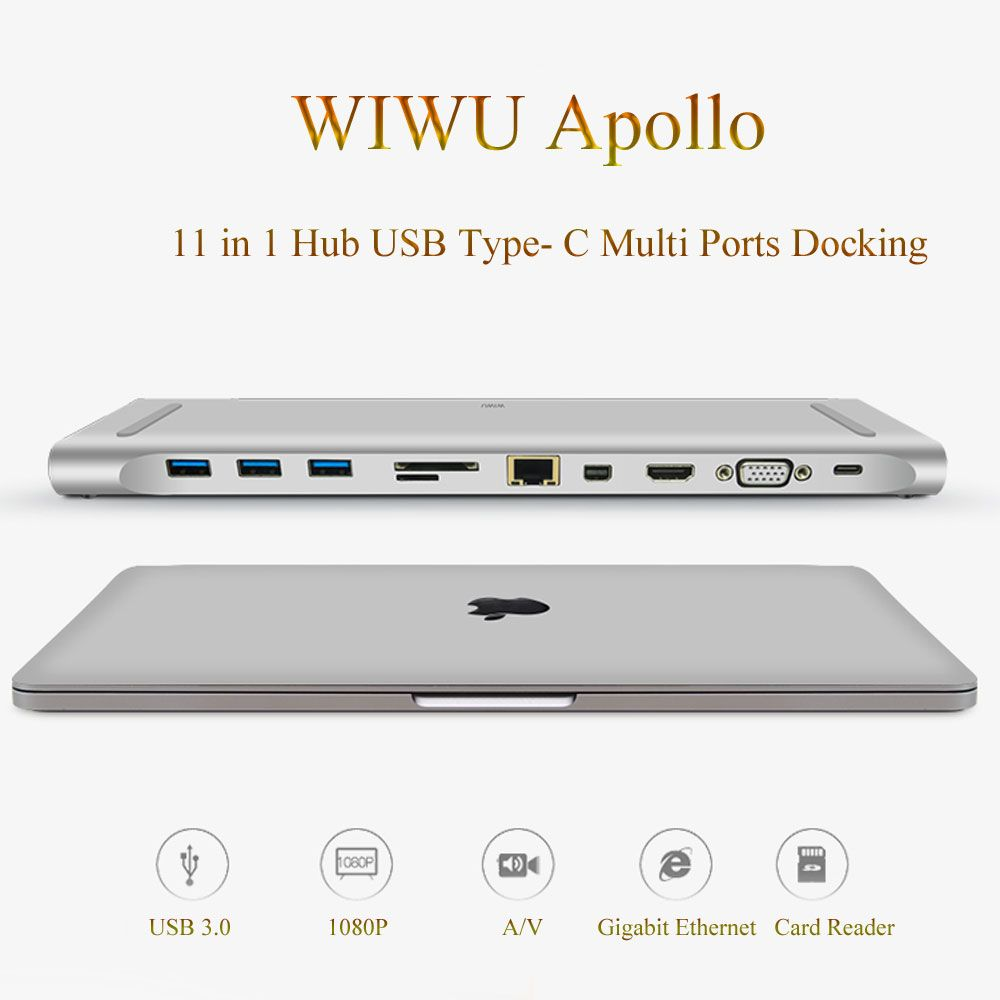 WIWU Multi-function 11 in 1 Hub USB Type-C Docking Station for MacBook Aluminum USB 3.0 to HDMI/VGA Universal Docking for Dell