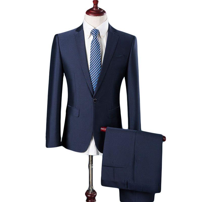 (Vestes + pantalons) 2019 hommes haut de gamme affaires BLAZERS deux pièces costume/homme pur coton slim Fit mode veste homme manteau