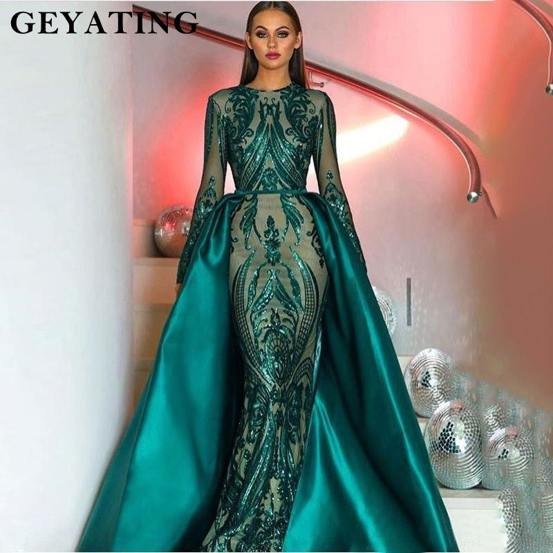 2018 Muslim Long Sleeves Mermaid Evening Dress Detachable Train Emerald Green Women Formal Gowns Arabic Kaftan Vestidos de festa