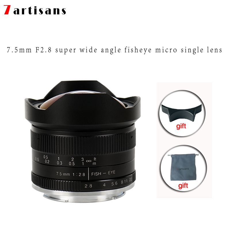 7 artisans 7.5mm f2.8 fisheye lentille 180 APS-C lentille fixe manuelle pour monture E Canon EOS-M monture Fuji FX offre spéciale livraison gratuite