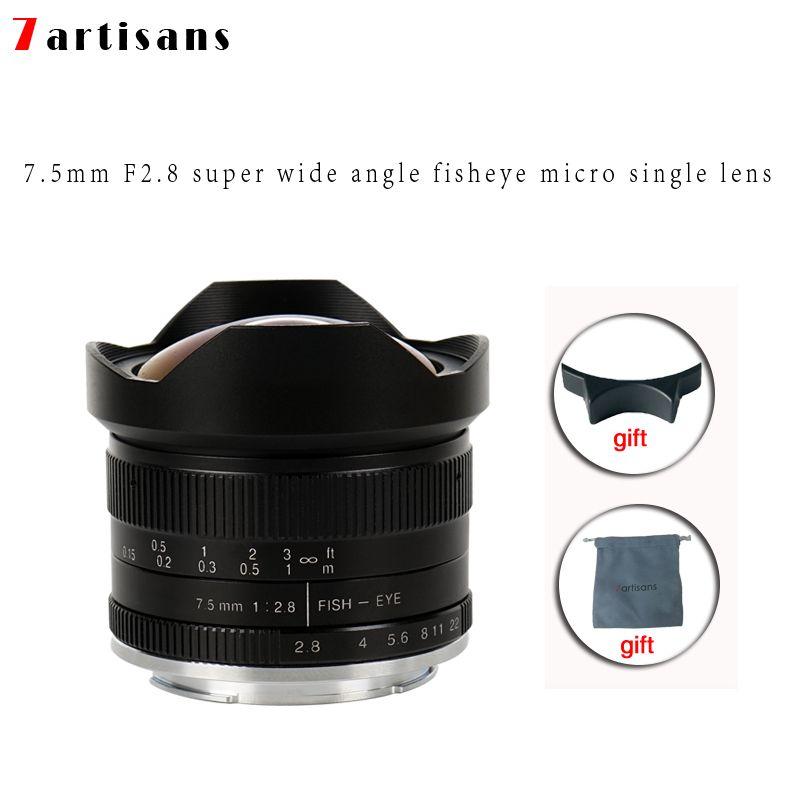 7artisans 7.5mm f2.8 fisheye lens 180 APS-C Manual <font><b>Fixed</b></font> Lens For E Mount Canon EOS-M Mount Fuji FX Mount Hot Sale Free Shipping