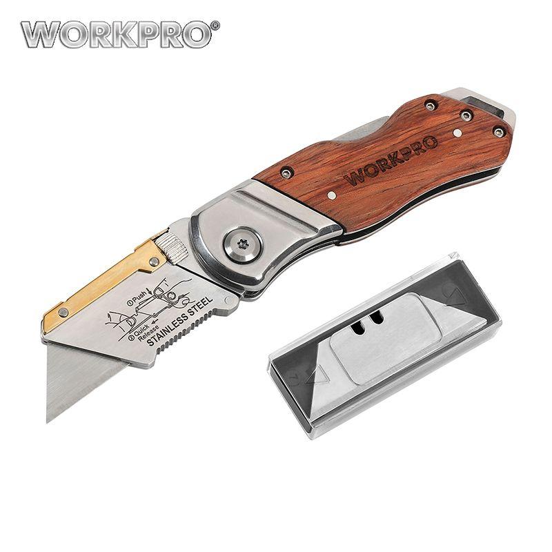 Couteau pliant robuste WORKPRO couteau de poche couteau à manche en bois avec lames 10 pièces