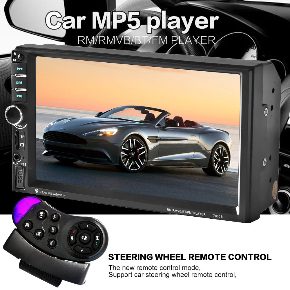 Commande au volant 7 pouce écran tactile Voiture radio MP5 MP3 2 DIN Voiture Audio vidéo USB TF AUXINE bluetooth support-jusqu'à priorité HD