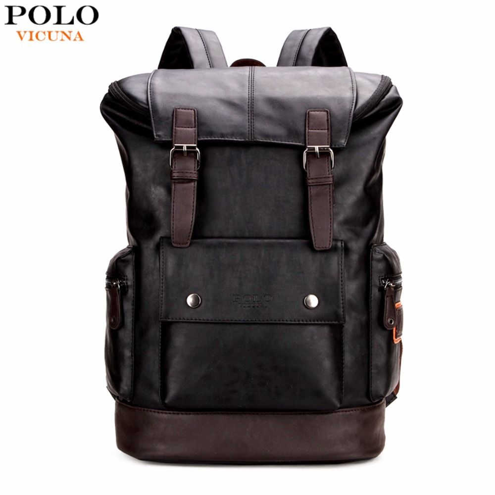 VICUNA POLO Simple Patchwork Large Capacity Mens Leather Backpack For Travel Casual Men Daypacks Leather Travle Backpack mochila