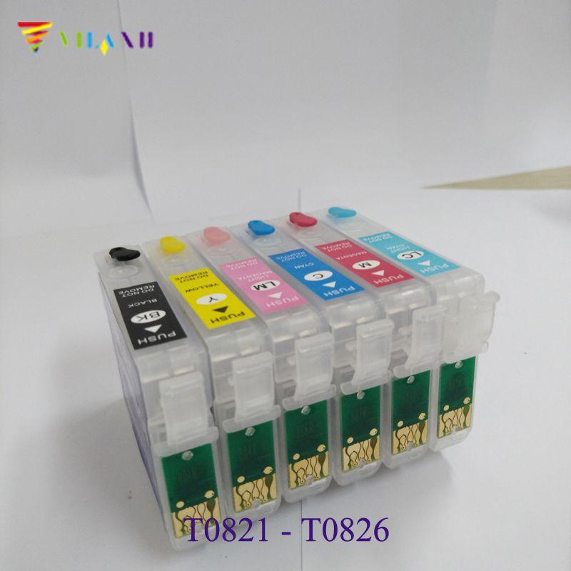 T0821N 821N Refillable Ink Cartridge For Epson Stylus Photo T50 R270 R290 R390 RX590 RX610 RX615 RX690 T59 TX650 TX710 t0821 82n