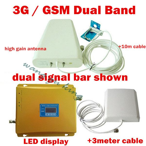 LCD Dual Band 3G W-CDMA 2100MHz GSM 900Mhz Cell Phone signal booster GSM 900 2100 Mobile Phone Signal Repeater Booster Amplifier