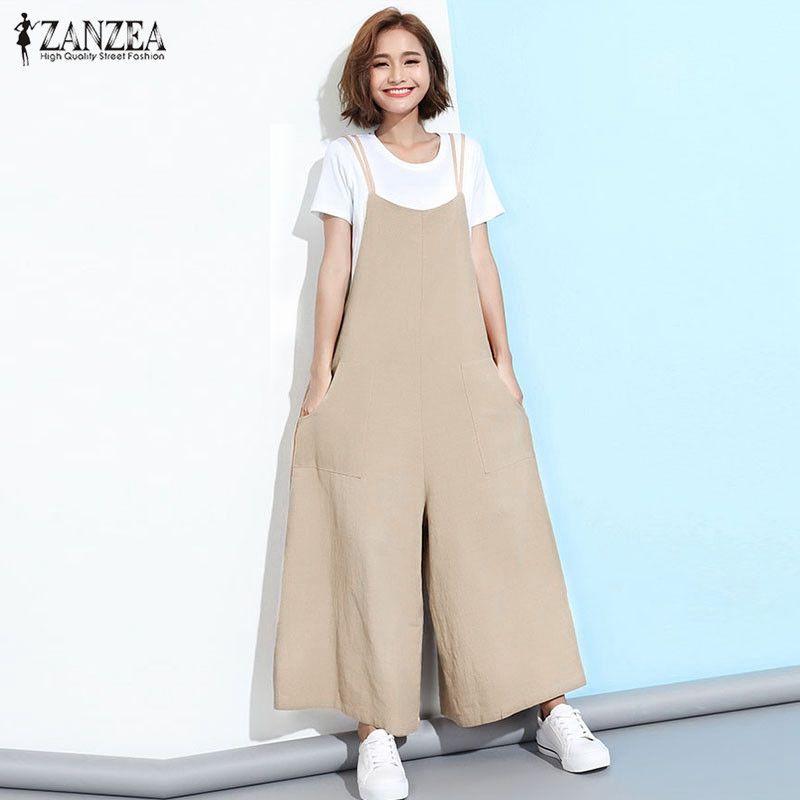 ZANZEA 2019 nouveau été barboteuses femmes combinaisons grande taille sans manches bretelles poches solide large jambe rétro pleine longueur salopette