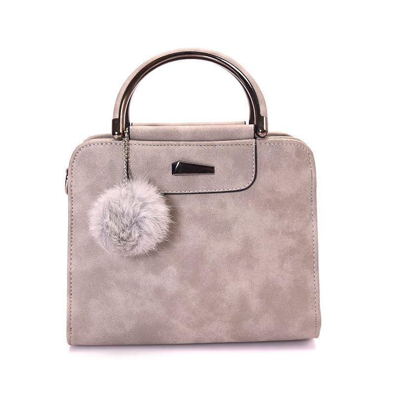 vintage handbag women casual tote bag female large shoulder <font><b>messenger</b></font> bags high quality PU leather handbag with fur ball bolsa