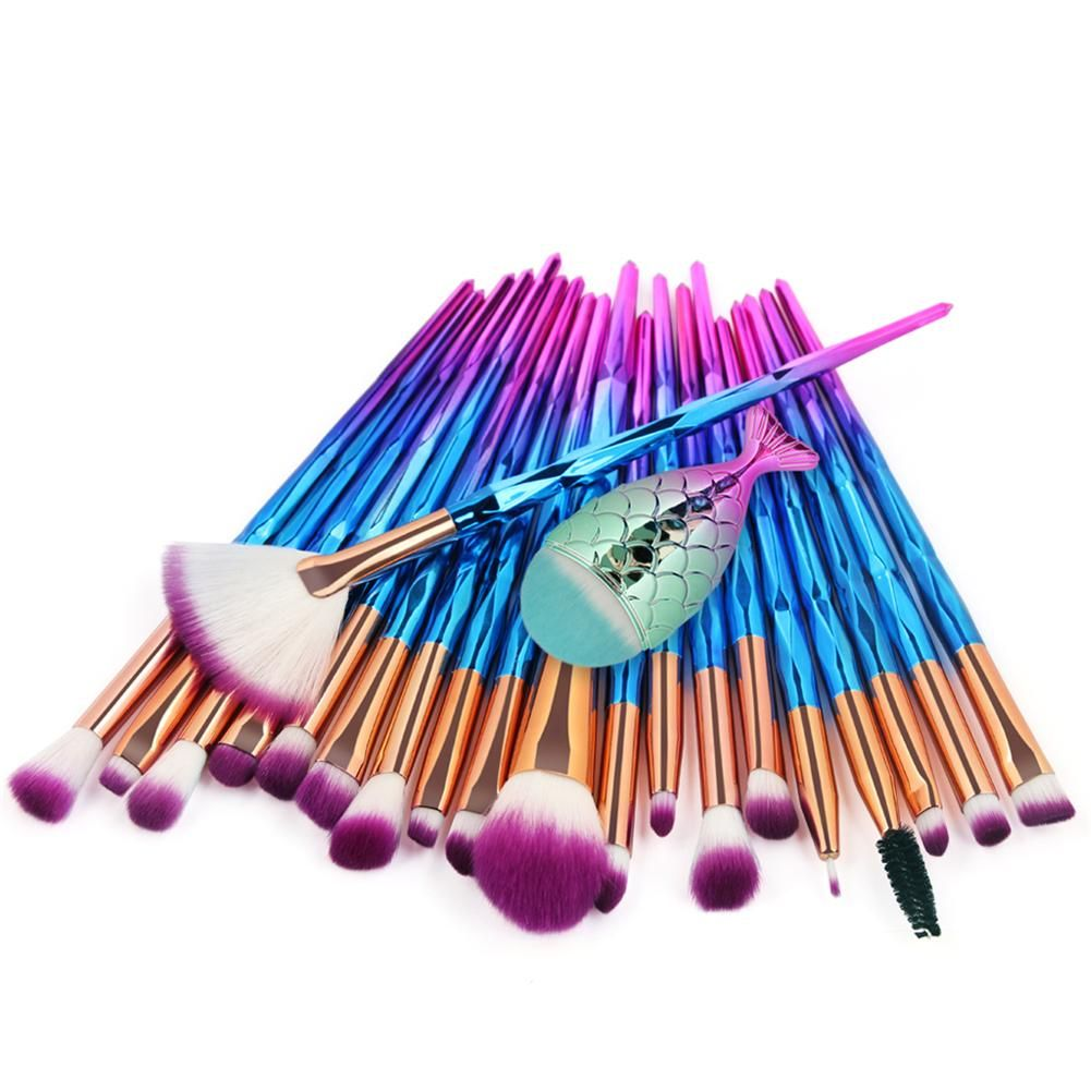 21 pièces ensemble de pinceaux de maquillage pinceau de maquillage sirène pinceau de fond de teint ensemble de pinceaux de maquillage professionnel
