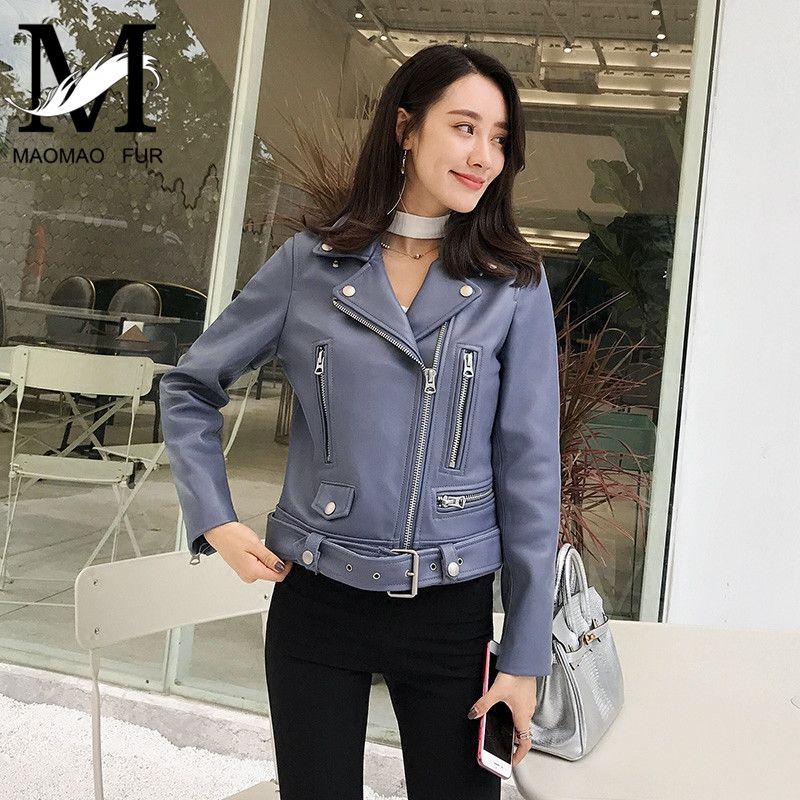 Genuine Leather Women Quality Jacket Real Sheep Leather Coat Fashion Lady Natural Lambskin Jacket