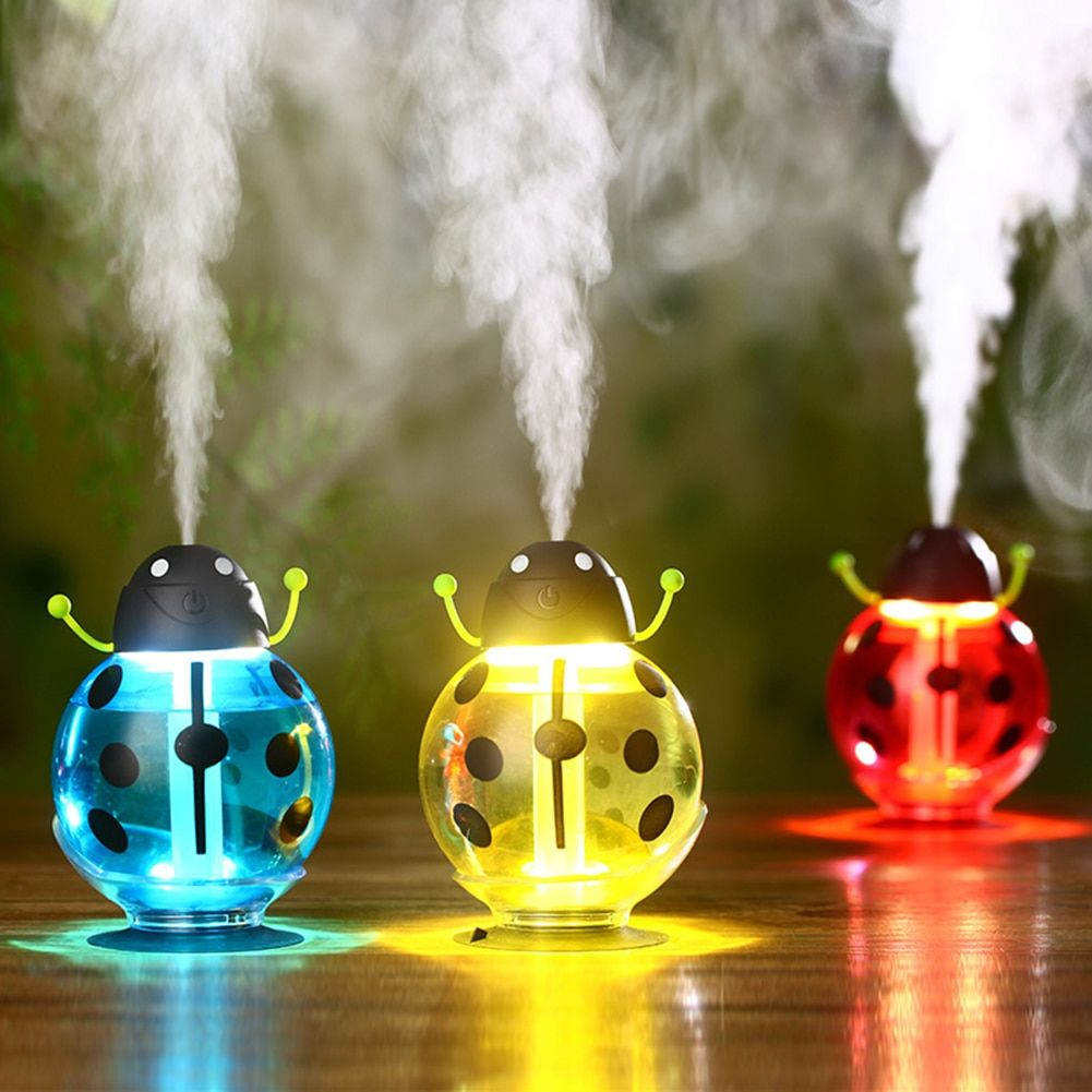DC 5V 2W 260ml Cute Mini Beetle USB Humidifier with Night Light Portable Home Office Air Diffuser Child Adult Care Air Freshener