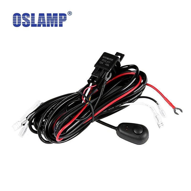Oslamp Wire Relay Harness Kit with Switch / wiring loom harness kit with fuse & Relay for OffRoad Led Driving Work Light 12V 24V