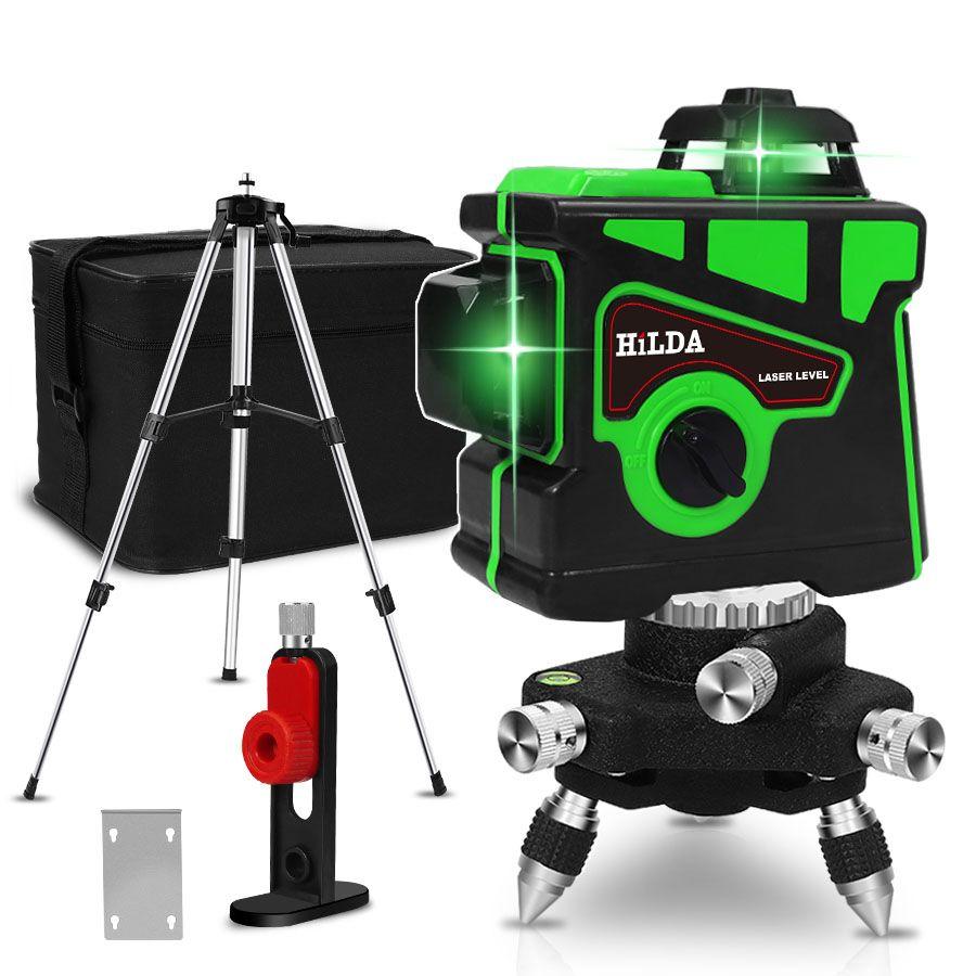 Niveau Laser 12 lignes 3D auto-nivelant 360 horizontale et verticale croix Super puissante ligne de faisceau Laser vert