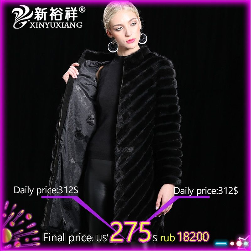 100% Real China Mink fur Coat Women Warm Genuine Leather long Fur Clothes Winter Outwear Natural Black Mink Jacket For Women