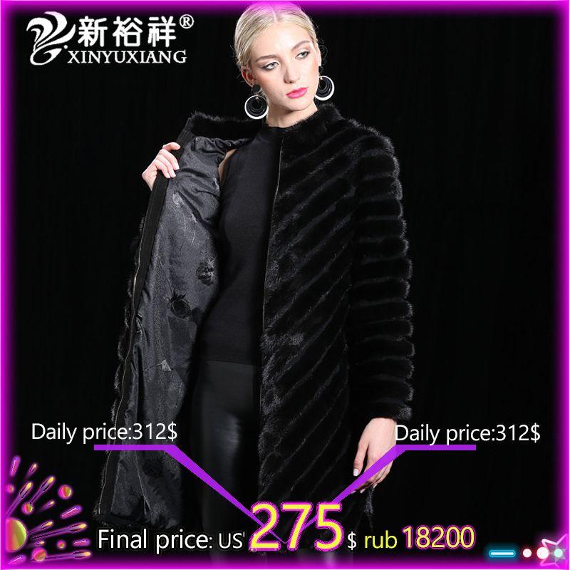 100% echte China nerz Mantel Frauen Warme Echtem Leder langen Pelz Kleidung Winter Outwear Natürliche Schwarz Nerz Jacke Für frauen