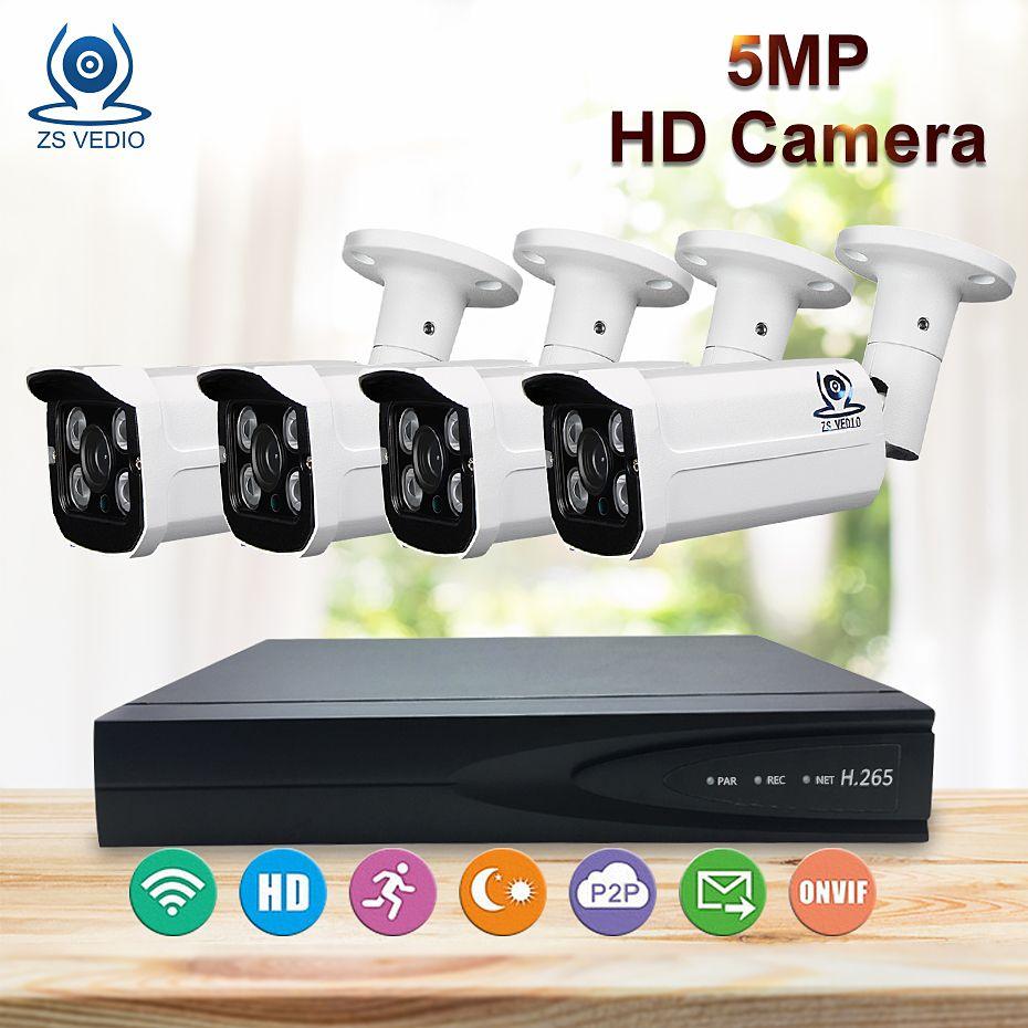 ZSVEDIO Surveillance System HD Lens CCTV Camera System Outdoor 5MP POE HDD Motion Detection Video Surveillance IP Bullet Webcam