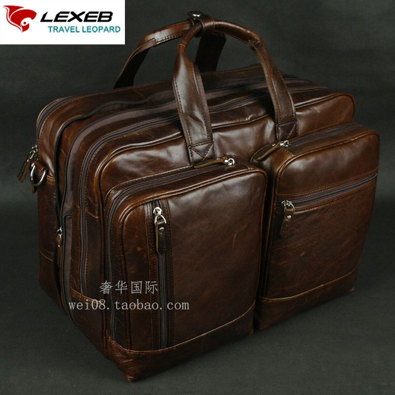 LEXEB Brand Leather Men's Briefcase 15.6 Inches Laptop Business Travel Bags 42 CM Large Capacity With Double Zips Open Coffee