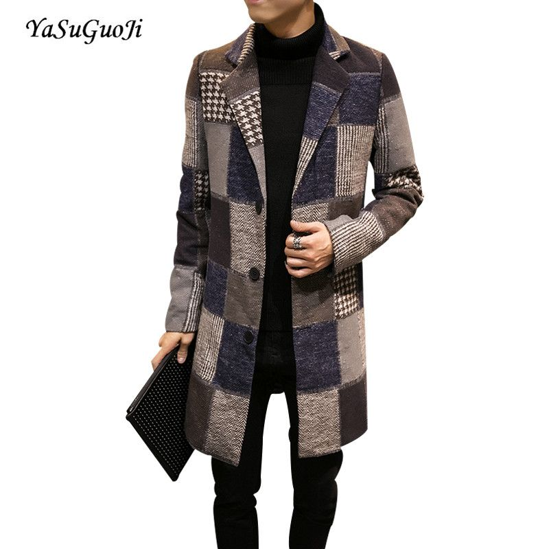 2017 new winter fashion single breasted contrast color plaid slim fit long coat men plus size patchwork mens overcoat NDY4